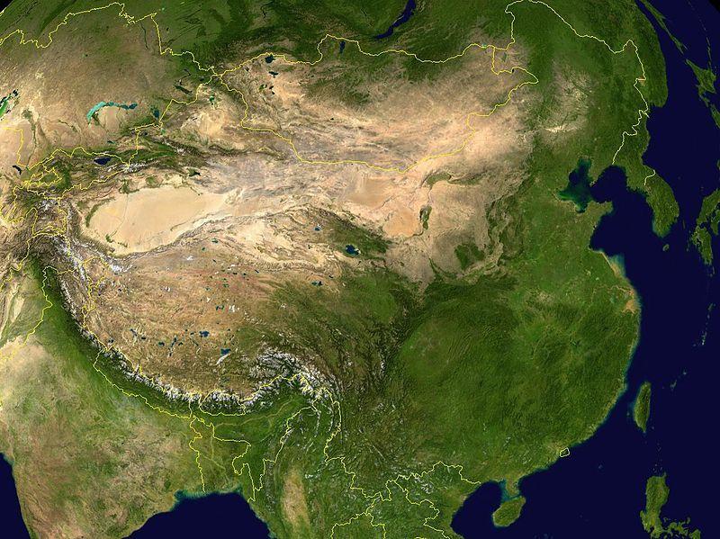 中国大陸の衛星画像(NASA)
