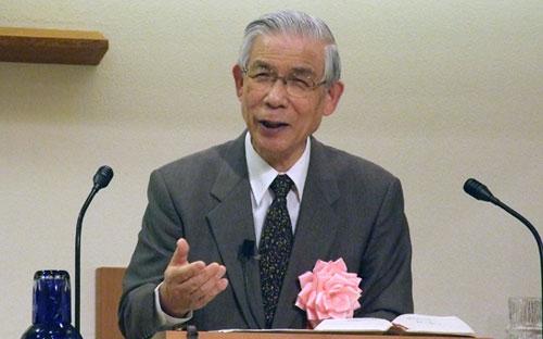 講演する工藤弘雄氏=22日、東京都目黒区のインマヌエル中目黒キリスト教会で