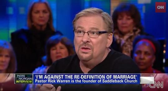 米CNNの番組に出演し、現代米国社会における結婚の再定義に懸念を示すリック・ウォレン牧師。(写真:米CNN『ピーアス・モーガン・ライブ(Piers Morgan Live)』より)