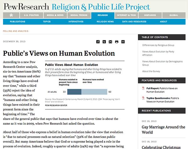 ピュー研究所が発表した米国人の進化論に対する最新の意識調査結果