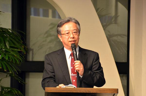 講演する木田恵嗣氏=11日、東京都新宿区の淀橋教会で