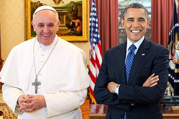 ローマ教皇フランシスコ(左)とバラク・オバマ米大統領(右)(写真:Roberto Stuckert Filho / ホワイトハウス)<br />