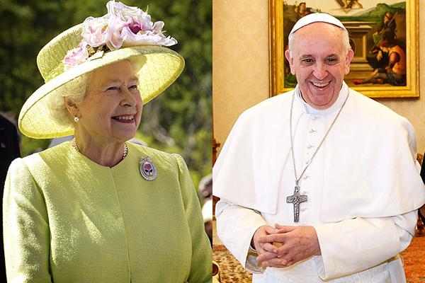 エリザベス女王(左)とローマ教皇フランシスコ(右)(写真:NASA / Bill Ingalls、Roberto Stuckert Filho)