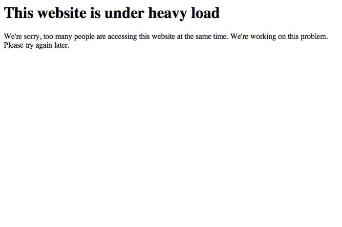 this website is under heavy load
