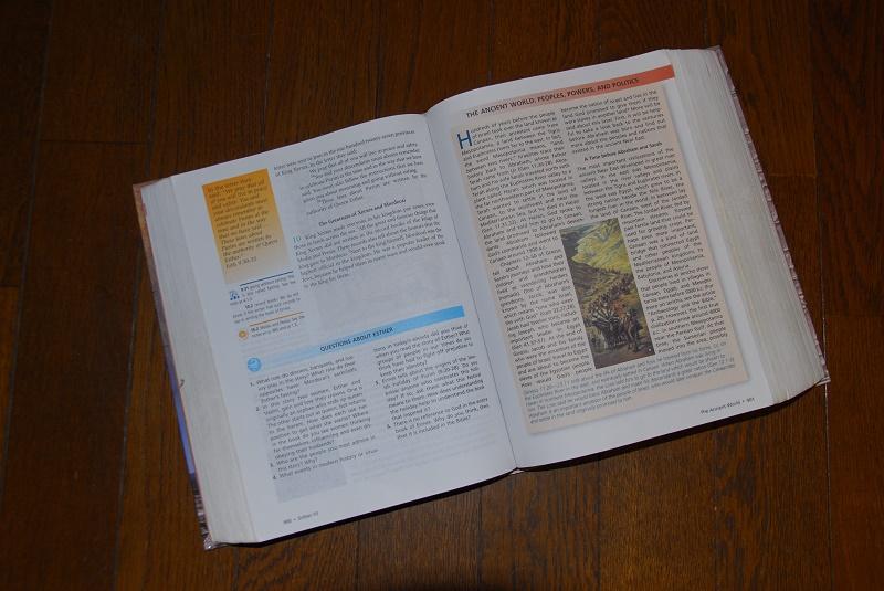『The Learning Bible - Contemporary English Version』の見開き。左下に設問、右側に解説資料が付いていて、とても色彩豊か。