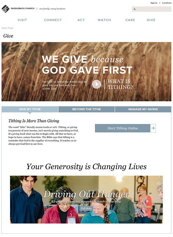 サドルバック教会(米カリフォルニア州、リック・ウォレン牧師)のサイトに設けられた献金用のページ