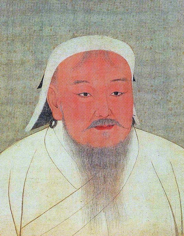 モンゴル帝国初代皇帝チンギス・ハンの肖像画<br />