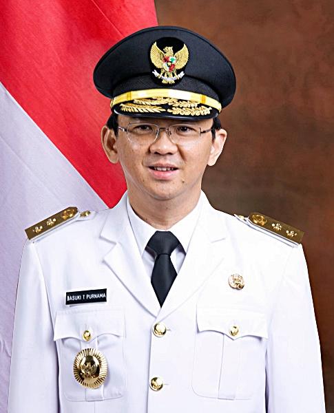インドネシアのジャカルタ特別州の知事に就任したバスキ・チャハヤ・プルナマ氏(48)