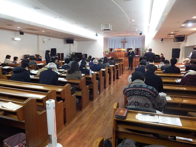 今年で17回目を迎えた「断食祈祷聖会」。初日に行われた講演1には約40人が集まり、日本の伝道のために祈った=12日、東京中央教会(東京都新宿区)で