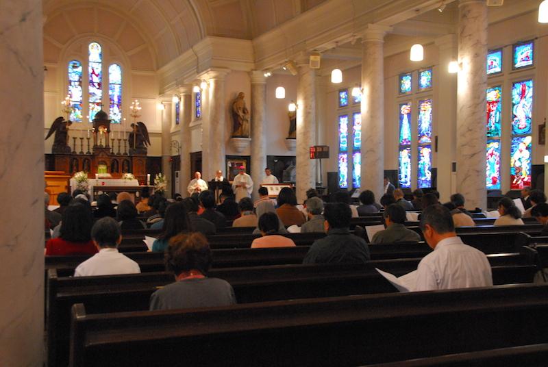 2015年キリスト教一致祈祷週間東京集会の様子=18日、カトリック神田教会(東京都千代田区)で