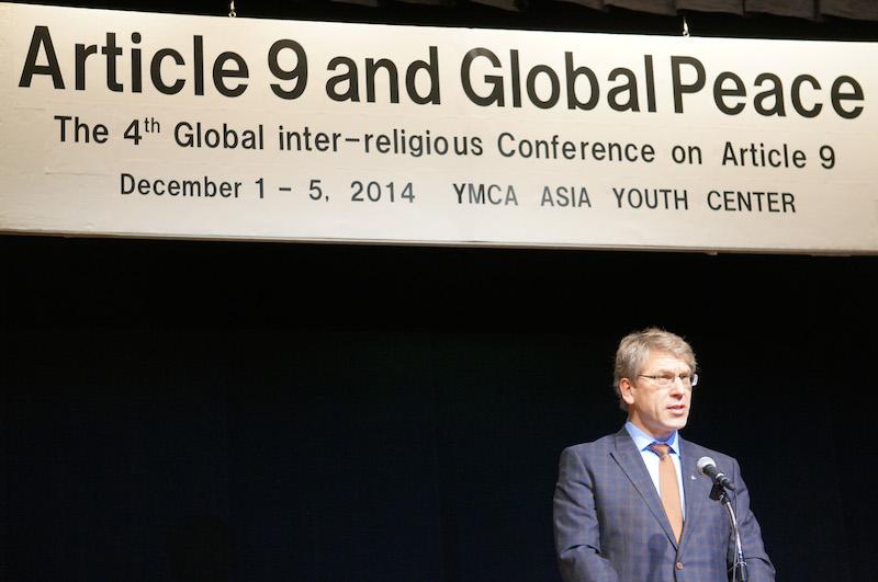 昨年12月に東京都内で開催された第4回9条世界宗教者会議で発題を行った世界教会協議会(WCC)のオラフ・フィクセ・トヴェイト総幹事(写真:WCC)