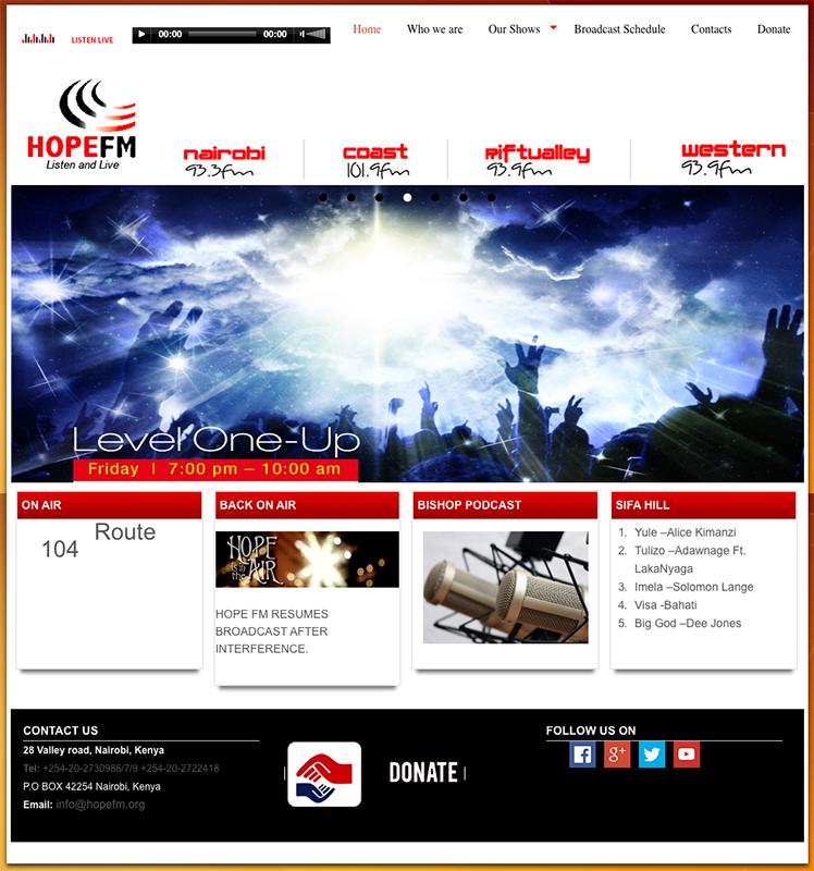 テロリストとみられる者に27日深夜に乗っ取られたケニアのラジオ局「ホープFM」のウェブサイト
