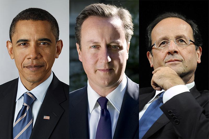 左から、バラク・オバマ米大統領、デイビッド・キャメロン英首相、フランソワ・オランド仏大統領(写真:Pete Souza / Jean-Marc Ayrault)