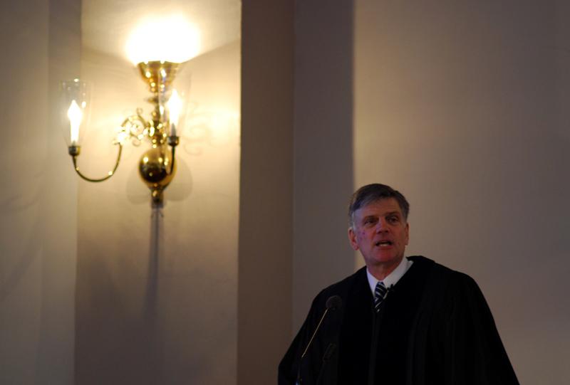 米マサチューセッツ州ボストンにあるパークストリート教会で説教するフランクリン・グラハム氏=2009年1月8日(写真:レイチェル・ジェイムズ)