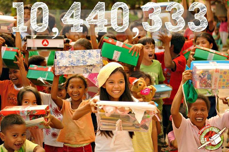 2014年度に集まったシューズボックス(靴箱)の総数は1044万333箱。2013年度の998万箱より増えて、1千万台を達成した。(写真:サマリタンズ・パース)<br />