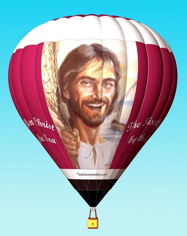 今年のイースター(復活祭)シーズンに初飛行する予定の、熱気球「RISEN!(よみがえり)」のイラスト(画像:スカイ・セイル・バルーンズ社提供)<br />