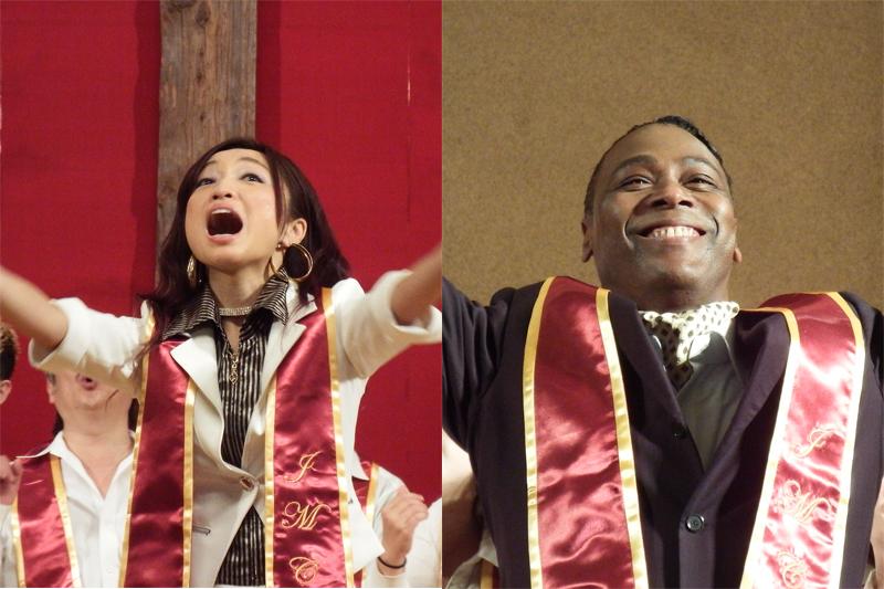 「JAPAN MASS CHOIR」の火付け役、「NGOゴスペル広場」代表のジェンナさん(左)とプロデューサーのジェット・エドワーズさん=14日、青山学院講堂(東京都渋谷区)で