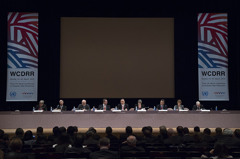 第3回国連防災世界会議の中で行われたハイレベル特別イベント「復興のための国連、人、行動」=14日、仙台国際センター(仙台市青葉区)で(写真:UN Photo / Eskinder Debebe)<br />