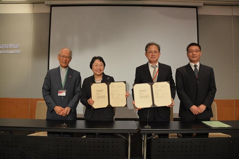 左から、高祖敏明・上智学院理事長、杉村美紀・上智大学副学長、国連教育科学文化機関(UNESCO)アジア太平洋地域教育局代表ら=3月6日、タイ・バンコクで(写真:上智大学提供)