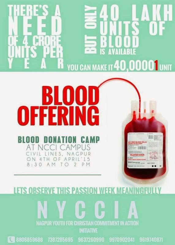 聖金曜日に献血を呼び掛けるポスター。インド教会協議会(NCCI)の「正義と平和・被造世界」委員会の「正義のための青年」プログラムである「行動によるクリスチャンとしての責務のためのナーグプル青年会」(NYCCiA)による活動として行われる。(写真:NCCI)