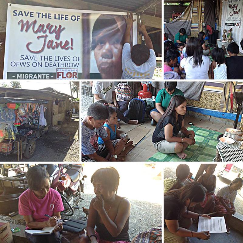 メアリー・ジェーンの命が助かるよう祈るメアリー・ジェーンさんの家族と支援者たち=フィリピン・カバナトゥアン市で(写真:Migrante International)
