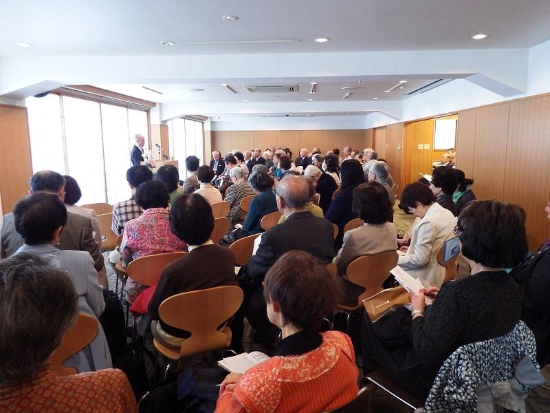 日本キリスト教文化協会主催の連続講演会、第21回「聖書に聴く 生と死の問題 III」会場の様子=2日、教文館ウェンライトホール(東京都中央区)で