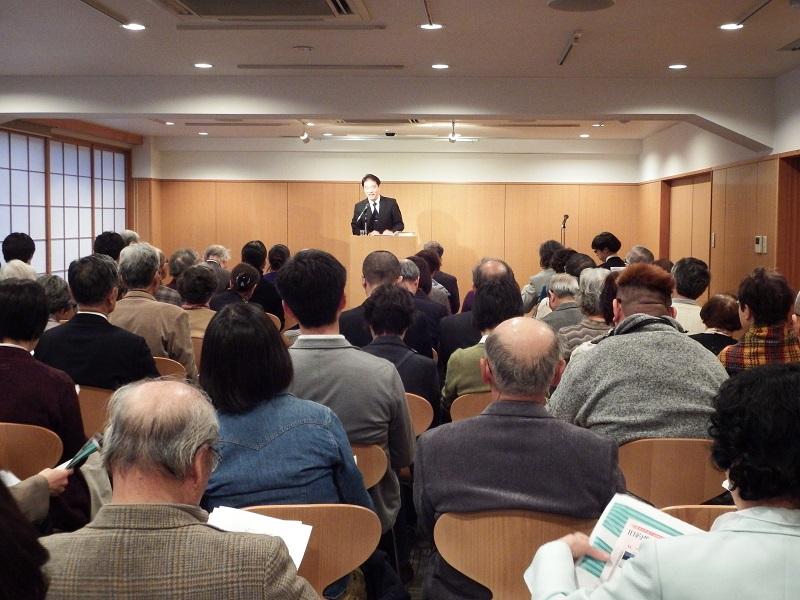 第25回キリスト教文化講演会の様子=9日、教文館ウェンライトホール(東京都中央区)で