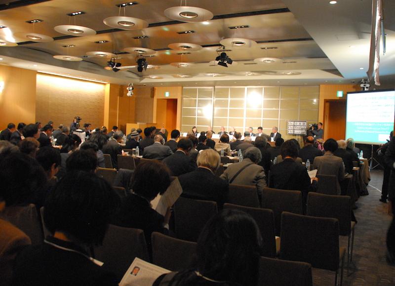 世界宗教者平和会議(WCRP)日本委員会と世界イスラーム連盟(MWL、本部:サウジアラビア・メッカ)による「ムスリムと日本の宗教者の対話プログラム―平和のための共通のビジョンを求めて―」の様子=9日、グランドハイアット東京(東京都港区)で