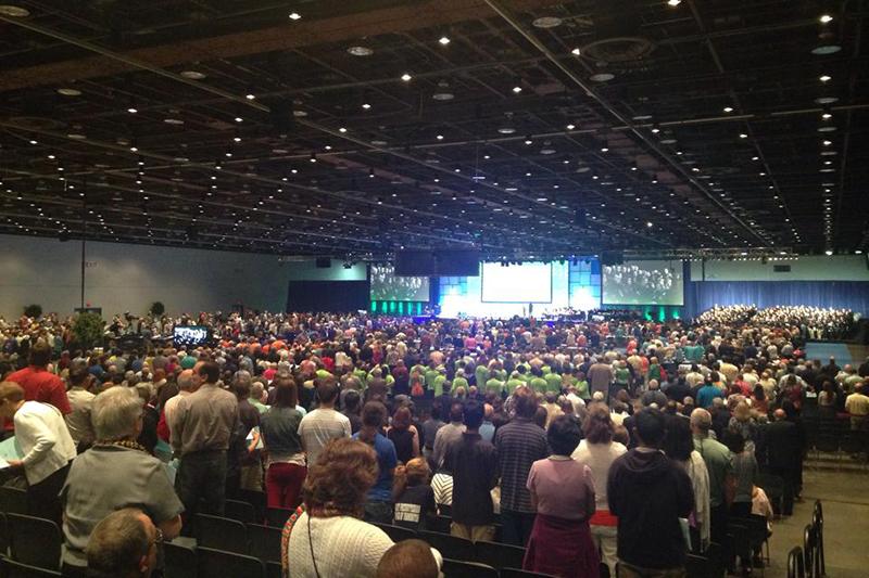 米ミシガン州デトロイト市で昨年6月に開催された米国長老教会(PCUSA)の第221回総会の様子(写真:PCUSAのフェイスブックより)