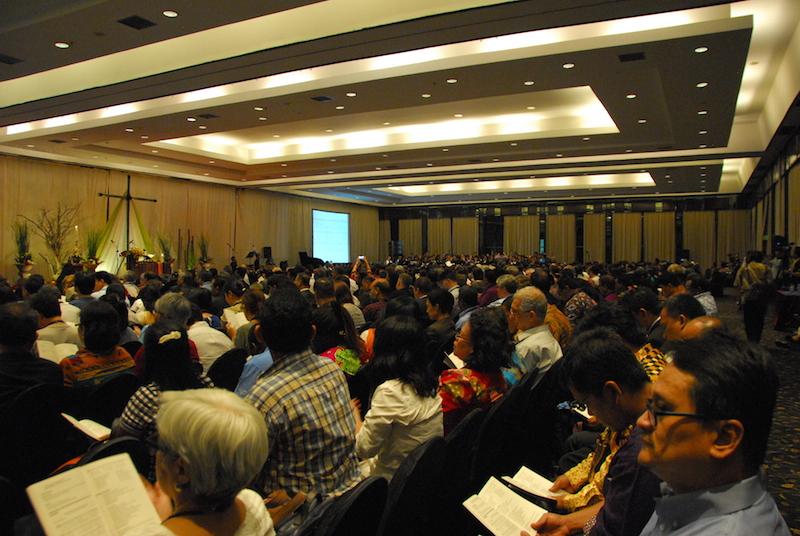 アジアキリスト教協議会(CCA)第14回総会の開会の様子=21日、メルキュール・コンベンション・センター・アンチョール(インドネシア・ジャカルタ)で <br />