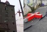 中国のキリスト教徒、撤去された十字架を再び教会に設置して抗議