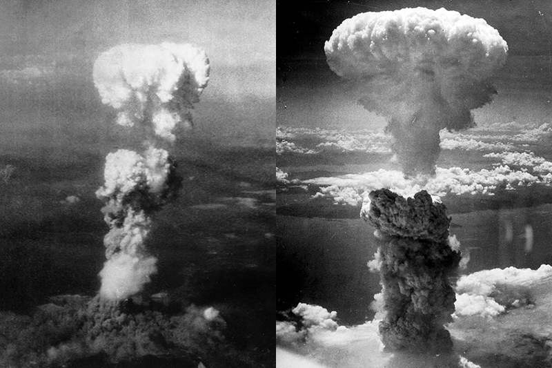 1945年8月6日と9日にそれぞれ広島(左)と長崎(右)に投下された原爆