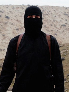 過激派組織「イスラム国」(IS)が公開した動画に映る「ジハーディ・ジョン」として知られるモハメド・エムワジ容疑者(写真:ISが公開した動画より)