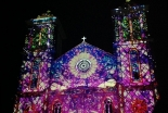 浦上天主堂にCG投影 キリシタン400年の歴史、70年前の被爆を再現