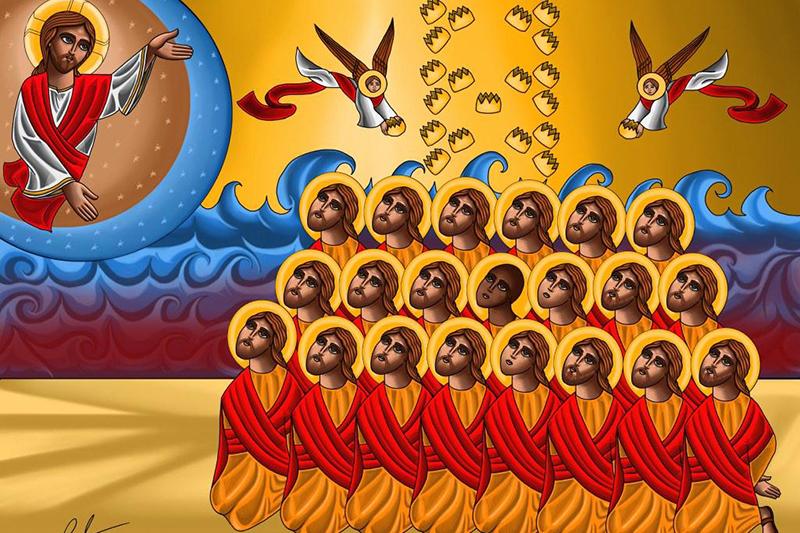 「イスラム国」(IS)に殺害されたエジプト人キリスト教徒21人を描いたイコン(聖像)。(画:トニー・レズク)