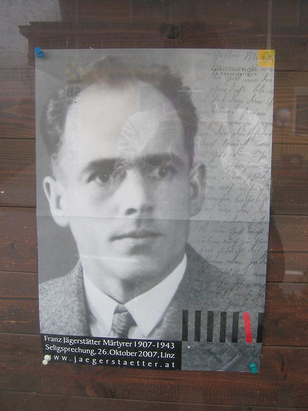 オーストリアの福者フランツ・イェーガーシュテッター(1907〜43)の写真(写真:Sziklai)
