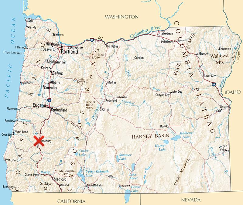 乱射事件のあったアンプクア・コミュニティー・カレッジがあるオレゴン州ローズバーグ