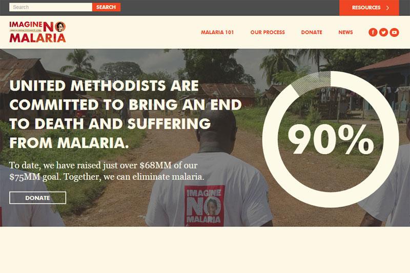 合同メソジスト教会は、マラリア撲滅の資金として、今年の目標額の90%にあたる6800万ドル(約83億円)を集めた。(画像:「イマジン・ノー・マラリア」公式ウェブサイトのスクリーンショット)