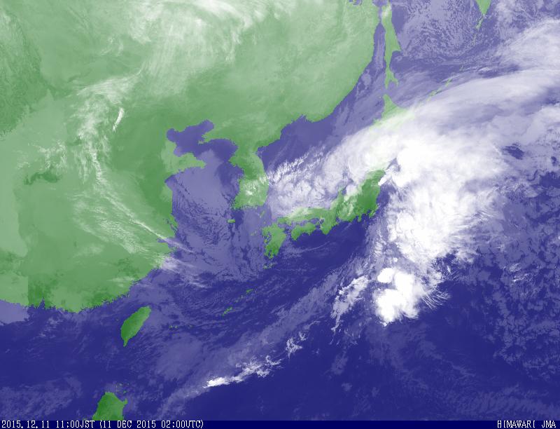 気象衛星で撮影した11日午前11時の雲の様子(図・気象庁)
