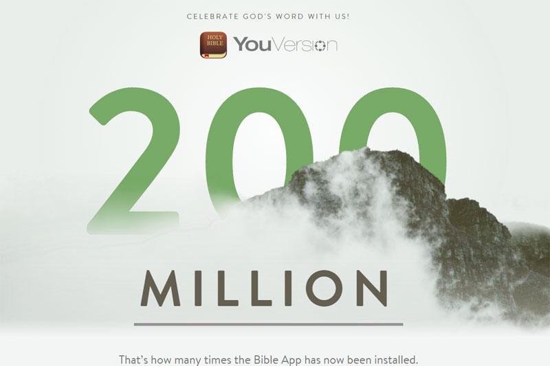 人気聖書アプリ「YouVersion(ユーバージョン)」のダウンロード数が、ついに2億件を超えた。(画像:ダウンロード2億件超えを記念して公開された特設サイトのスクリーンショット)