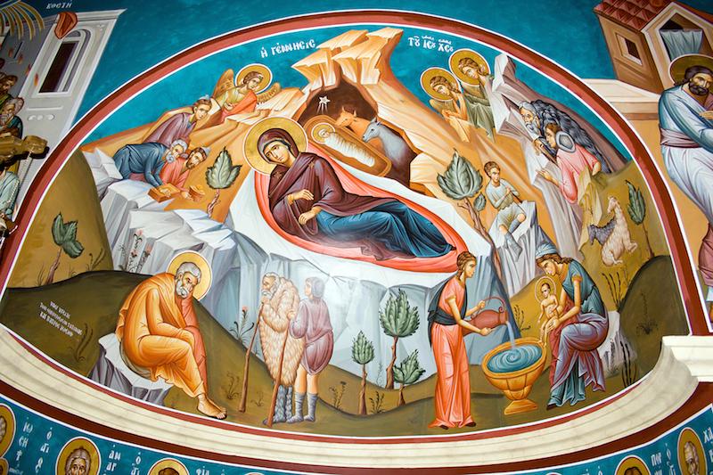 ハリストスの降誕を描いた、ヨルダン川沿いにある前駆授洗イオアン正教会の内部に描かれている壁画(写真:David Bjorgen)