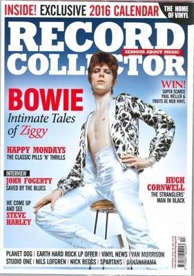 デヴィッド・ボウイさんが表紙を飾った英音楽雑誌「レコード・コレクター(Record Collector)」2015年クリスマス号