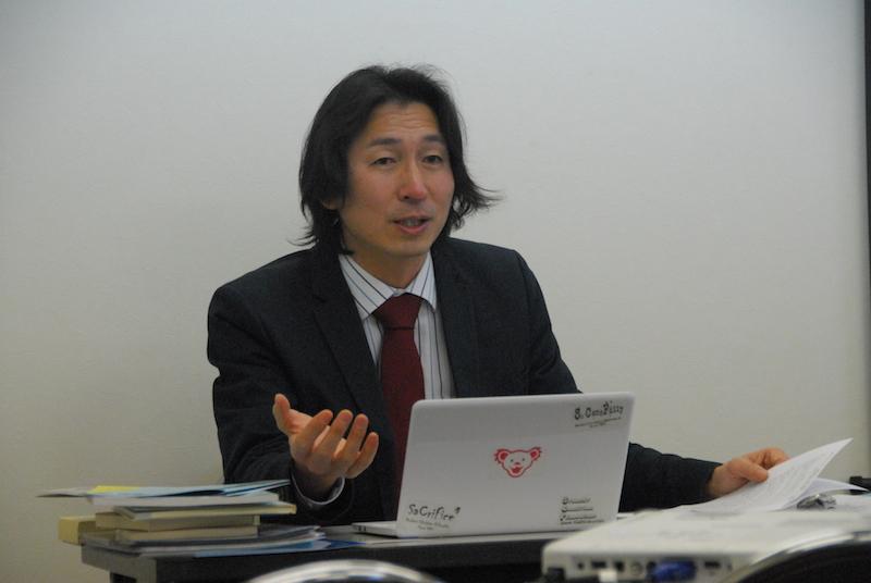 「これでいいのか日本のキリスト教」との主題で青年に関する講演を行った学生キリスト教友愛会(SCF)主事の野田沢牧師=23日、東京都新宿区の早稲田教会で