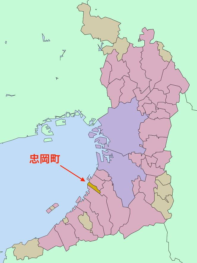 大阪府忠岡町(図:Lincun)