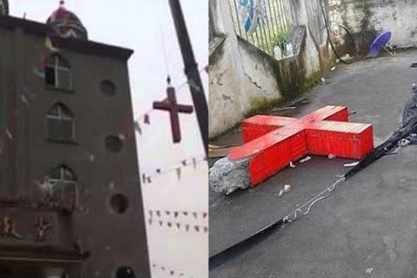中国浙江省の教会から十字架を撤去するクレーン(写真左)と、撤去され、地面におかれたコンクリート製の十字架(写真:ユーチューブより)