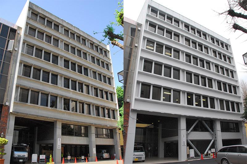 工事開始直後の日本キリスト教会館の外観(写真左)=2015年6月4日撮影と、耐震改修工事が終了しつつある日本キリスト教会館の外観(同右)=23日撮影。右の写真では3階と5階の部屋に明かりがついているのが見える。