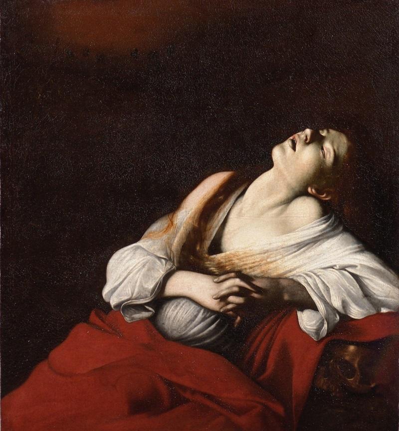 カラヴァッジョ「法悦のマグダラのマリア」1606年、油彩/カンヴァス、107.5×98.0cm、個人蔵