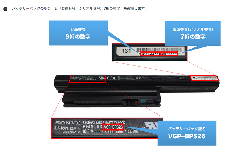 対象バッテリーパックの型名や製造番号(シリアル番号)などを確認する方法を説明するソニーのホームページ