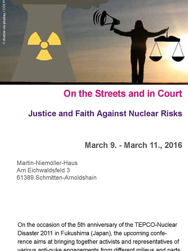 国際会議「街路で、そして裁判所で 核のリスクに対する正義と信仰」の英語版プログラム