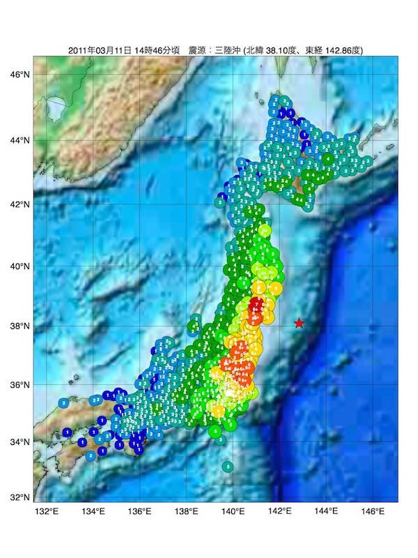 東日本大震災の震源マップ(画像:Gtogk)